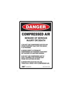 Danger Compressed Air 180mm x 250mm - Self Sticking Vinyl