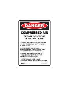Danger Compressed Air 180mm x 250mm - Self Sticking Vinyl