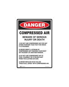 Danger Compressed Air 450mm x 600mm - Metal