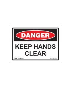 Danger Keep Hands Clear 250mm x 180mm - Self Sticking Vinyl