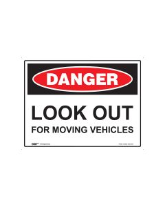 Danger Look Out For Moving Vehicles 600mm x 450mm - Metal