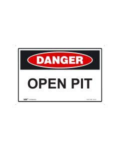 Danger Open Pit 450mm x 300mm - Metal