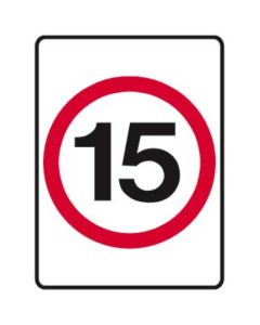 15kph Speed Limit 450mm x 600mm - Metal