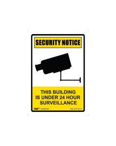 Security Notice 24 Hour Surveillance 180mm x 250mm - Self Sticking Vinyl