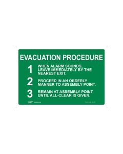 Evacuation Procedures 450mm x 300mm - Polypropylene