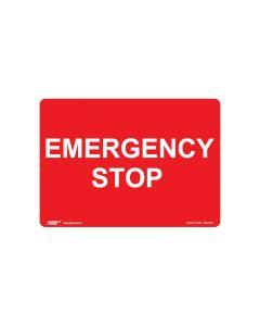 Emergency Stop 250mm x 180mm - Self Sticking Vinyl