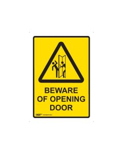 Beware Of Opening Door 180mm x 250mm - Self Sticking Vinyl