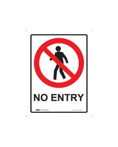 No Entry 225mm x 300mm - Polypropylene
