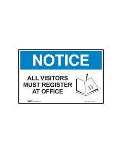 Notice All Visitors 450mm x 300mm - Polypropylene