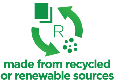 Made from recycled or renewable sources