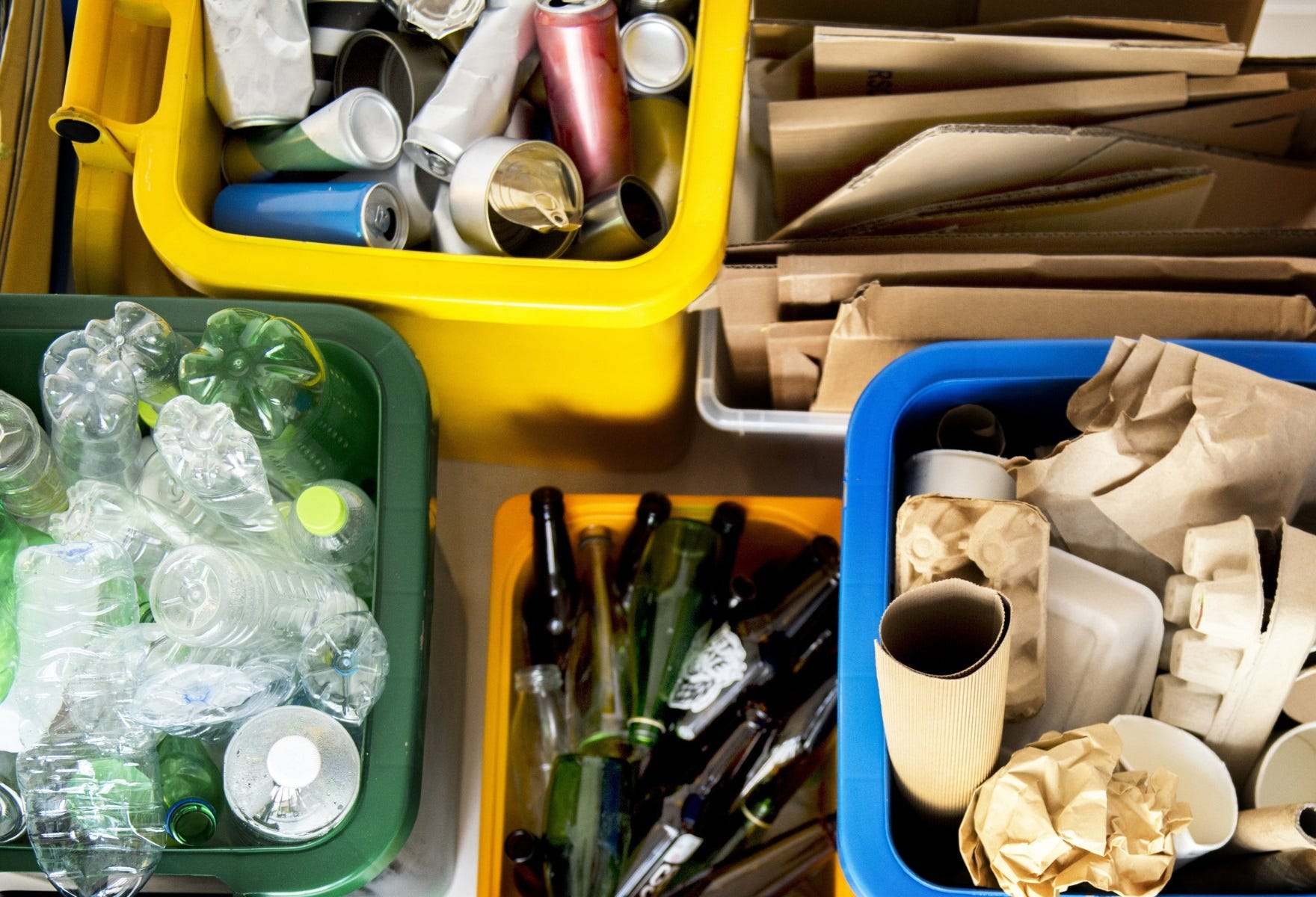 Assorted recycling bins
