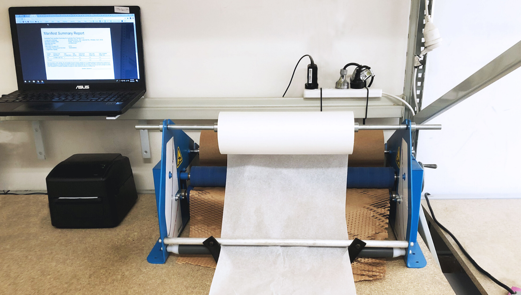 Geami WrapPak on packing bench
