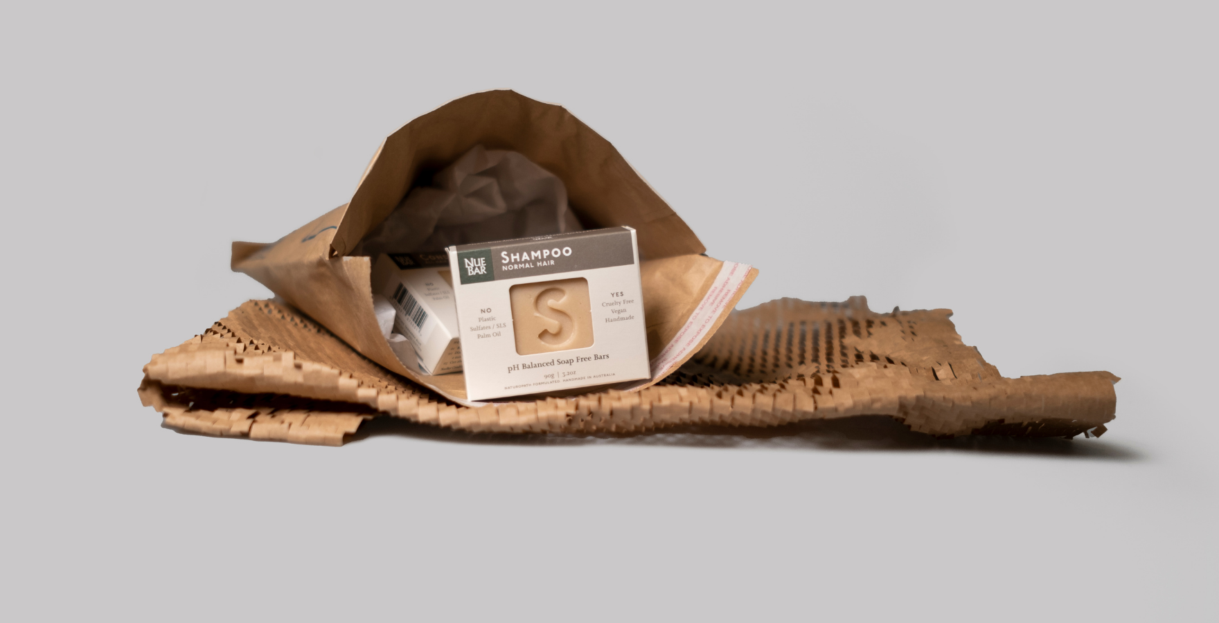 NueBar products packed into a 100% recyclable Jiffy Bag
