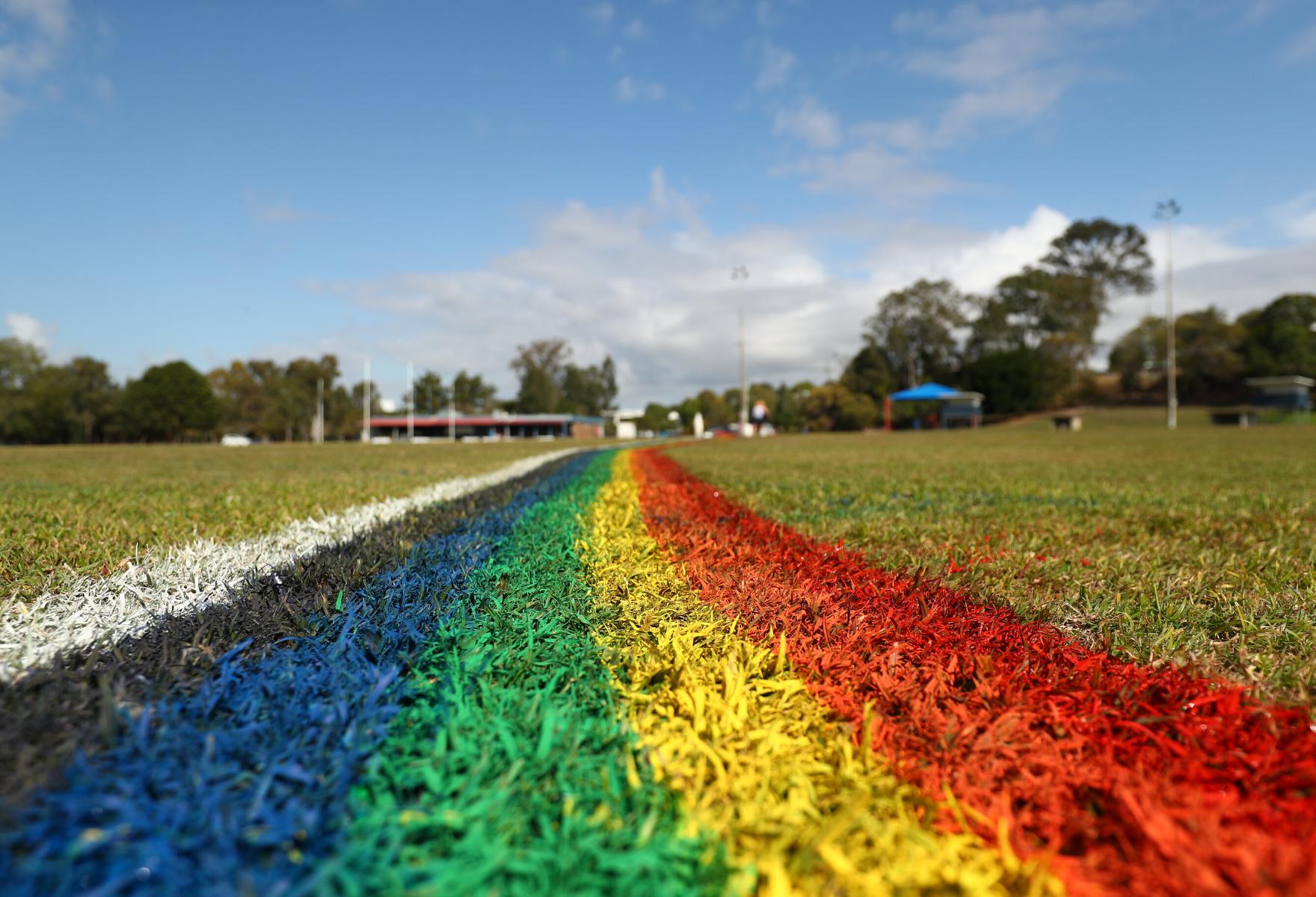 Rainbow line marking on football field