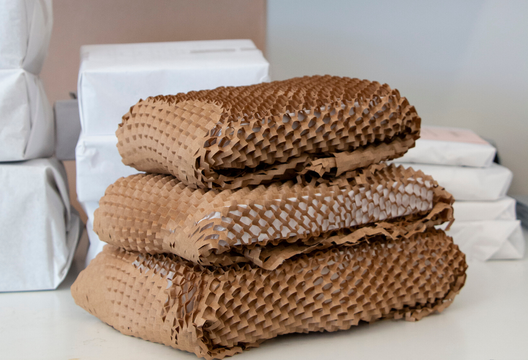 Stack of products wrapped in Geami