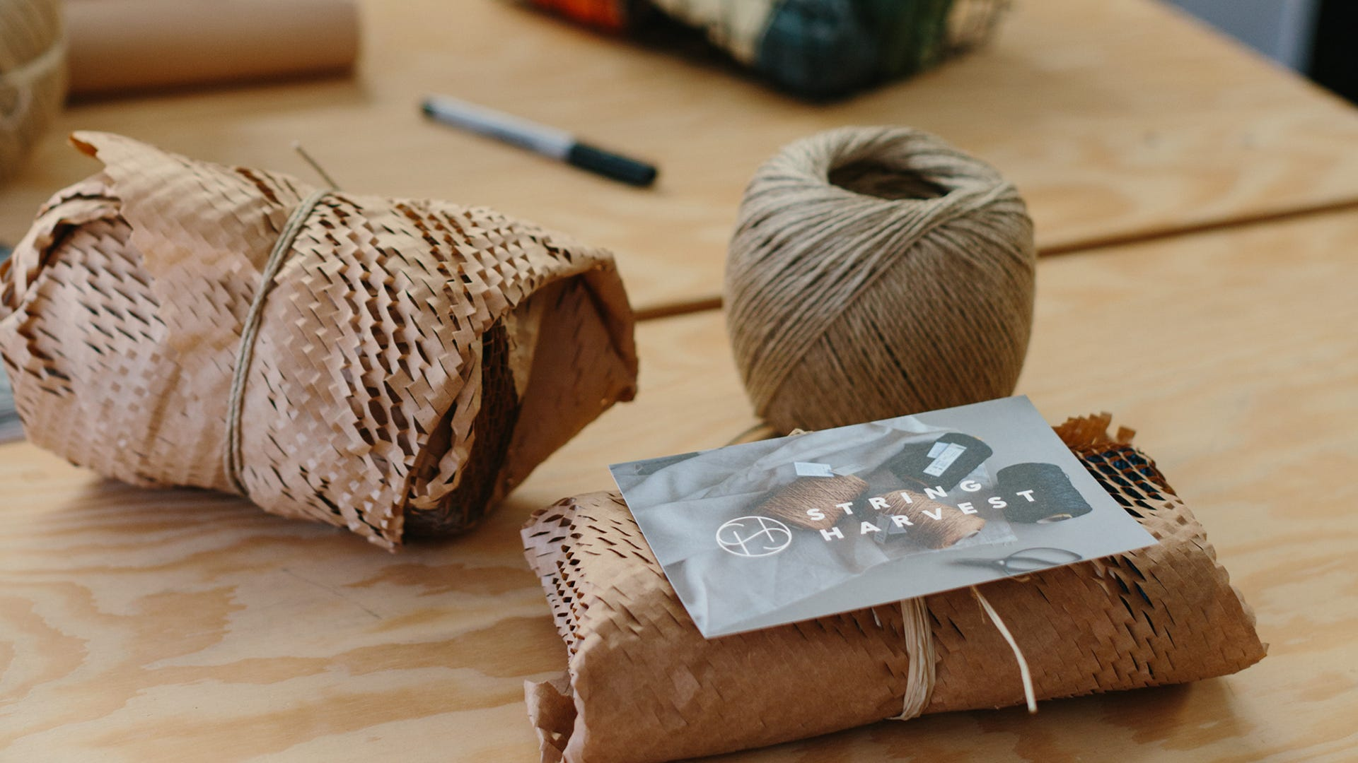 String Harvest products wrapped in Geami