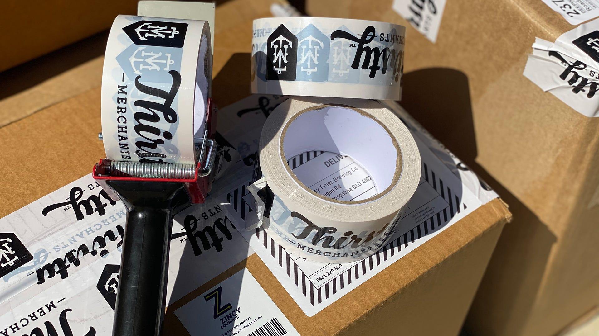 Thirsty Merchants Tape on carton